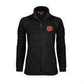 Ladies Fleece Full Zip Black Jacket-BC Logo