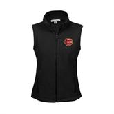 Ladies Fleece Full Zip Black Vest-BC Logo