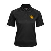 Ladies Black Textured Saddle Shoulder Polo-Wildcat Head