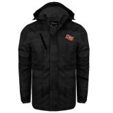 Black Brushstroke Print Insulated Jacket-BCU
