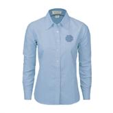 Ladies Light Blue Oxford Shirt-BC Logo