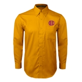 Gold Twill Button Down Long Sleeve-BC Logo