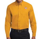 Gold Twill Button Down Long Sleeve-Wildcat Head