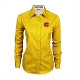 Ladies Gold Twill Button Down Long Sleeve-BC Logo