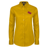Ladies Gold Twill Button Down Long Sleeve-BCU
