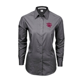 Ladies Grey Tonal Pattern Long Sleeve Shirt-Wildcat Head