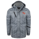 Grey Brushstroke Print Insulated Jacket-BCU