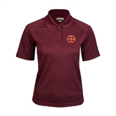 Ladies Maroon Textured Saddle Shoulder Polo-BC Logo