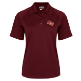 Ladies Maroon Textured Saddle Shoulder Polo-BCU