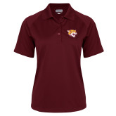 Ladies Maroon Textured Saddle Shoulder Polo-Wildcat Head