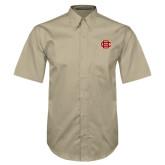 Khaki Twill Button Down Short Sleeve-BC Logo