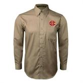 Khaki Twill Button Down Long Sleeve-BC Logo