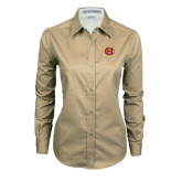 Ladies Khaki Twill Button Down Long Sleeve-BC Logo