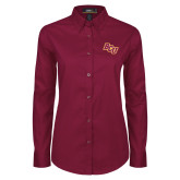 Ladies Maroon Twill Button Down Long Sleeve-BCU
