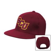 Maroon Flat Bill Snapback Hat-BCU