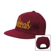 Maroon Flat Bill Snapback Hat-Wildcats Script