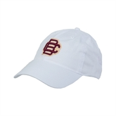 White Twill Unstructured Low Profile Hat-BC Logo