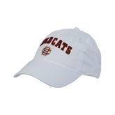 White Twill Unstructured Low Profile Hat-Wildcats w/BC Logo