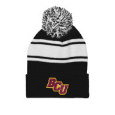 Black/White Two Tone Knit Pom Beanie with Cuff-BCU