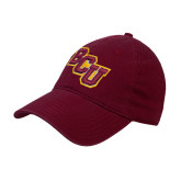 Maroon Twill Unstructured Low Profile Hat-BCU
