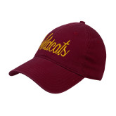 Maroon Twill Unstructured Low Profile Hat-Wildcats Script
