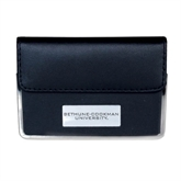 Leather Black Business Card Case-Bethune-Cookman Engraved