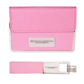 Business Card Case and Key Ring Set Pink-Bethune-Cookman Engraved