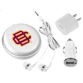 3 in 1 White Audio Travel Kit-BC Logo