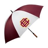 62 Inch Maroon/White Umbrella-BC Logo