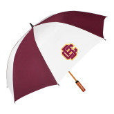62 Inch Maroon/White Vented Umbrella-Primary Mark