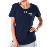 Ladies Under Armour Navy Charged Cotton Tee-Bendix