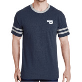 Navy Heather/Grey Tri Blend Varsity Tee-Bendix