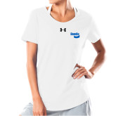 Ladies Under Armour White Charged Cotton Tee-Bendix