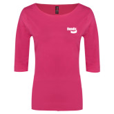 Ladies Dark Fuchsia Perfect Weight 3/4 Sleeve Tee-Bendix