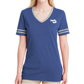 Ladies Royal Heather/Grey Tri Blend Varsity Tee-Bendix