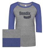 ENZA Ladies Athletic Heather/Blue Vintage Baseball Tee-Bendix Graphite Glitter