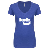Next Level Ladies Vintage Royal Tri Blend V-Neck Tee-Bendix