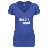 Next Level Ladies Vintage Royal Tri Blend V-Neck Tee-Bendix White Soft Glitter