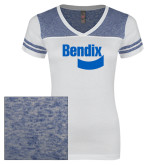 Ladies White/Heathered Deep Royal Juniors Varsity V Neck Tee-Bendix