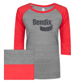 ENZA Ladies Athletic Heather/Red Vintage Triblend Baseball Tee-Bendix Graphite Glitter
