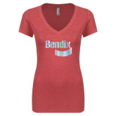 Next Level Ladies Vintage Red Tri Blend V-Neck Tee-Bendix Foil