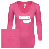 ENZA Ladies Hot Pink Long Sleeve V Neck Tee-Bendix