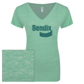 ENZA Ladies Seaglass Melange V Neck Tee-Bendix Sea Glass Glitter