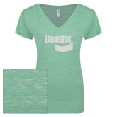 ENZA Ladies Seaglass Melange V Neck Tee-Bendix White Soft Glitter