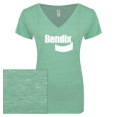 ENZA Ladies Seaglass Melange V Neck Tee-Bendix