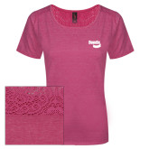Ladies Dark Fuchsia Heather Tri-Blend Lace Tee-Bendix