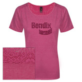 Ladies Dark Fuchsia Heather Tri-Blend Lace Tee-Bendix Hot Pink Glitter