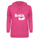 ENZA Ladies Hot Pink V Notch Raw Edge Fleece Hoodie-Bendix