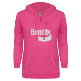ENZA Ladies Hot Pink V Notch Raw Edge Fleece Hoodie-Bendix White Soft Glitter