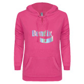 ENZA Ladies Hot Pink V Notch Raw Edge Fleece Hoodie-Bendix Foil